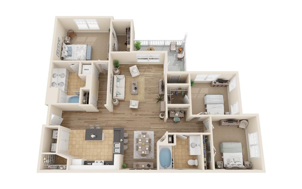 2 bedroom 2 bath 1408 sq.ft.