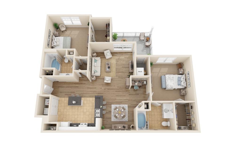 2 bedroom 2 bath 1192 sq.ft.