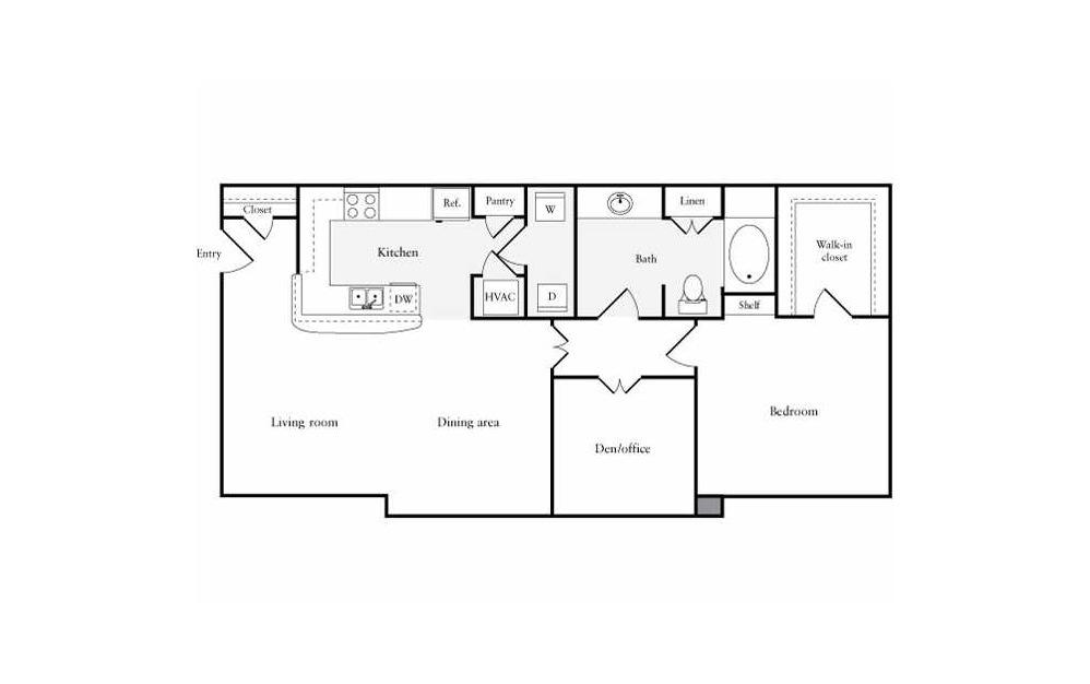 1 bedroom 1 bath 1026 sq.ft.
