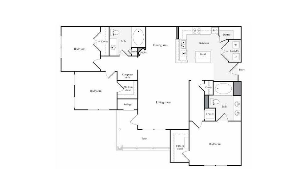 3 bedroom 2 bath 1408 sq.ft.